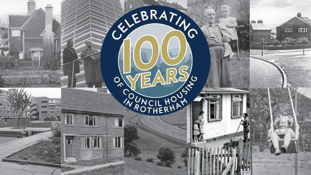 Black and white montage image illustrating 100 years of Council housing in Rotherham