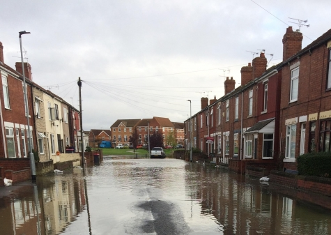 A flooded residential area.