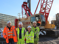 Eric Wright Civil Engineering's Chris Roughley, Neil Shepherd and Arminas Stepanavicius with Councillor Denise Lelliott.