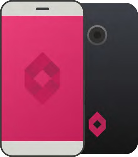 photo of a pink and black mobile phone