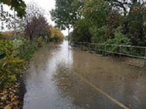 Road at parkgate under water