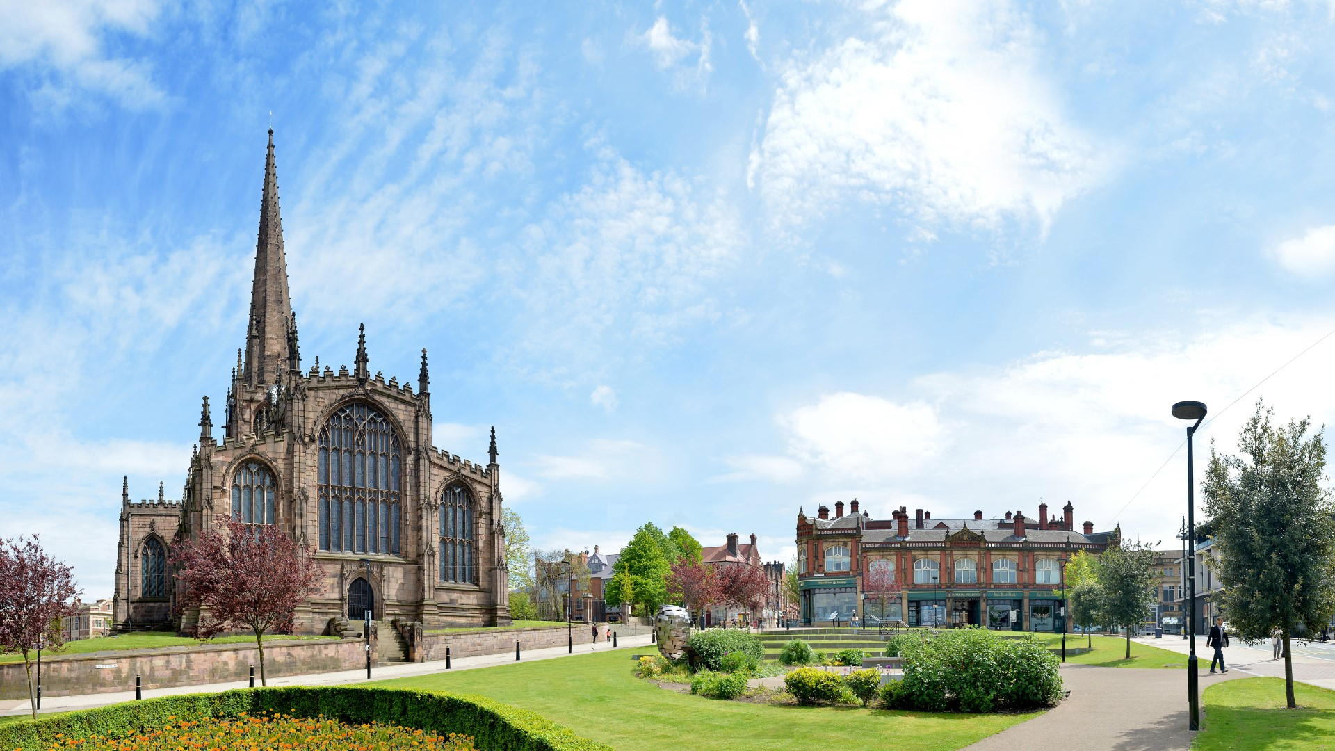 Panoramic view of Minster Gardens with Rotherham Minster, Imperial Buildings and Heart of Steel