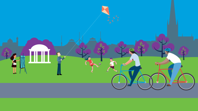 Illustration of Rotherham landscape with people active in the community