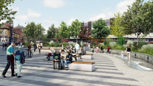 Artists impression of new town centre open spaces