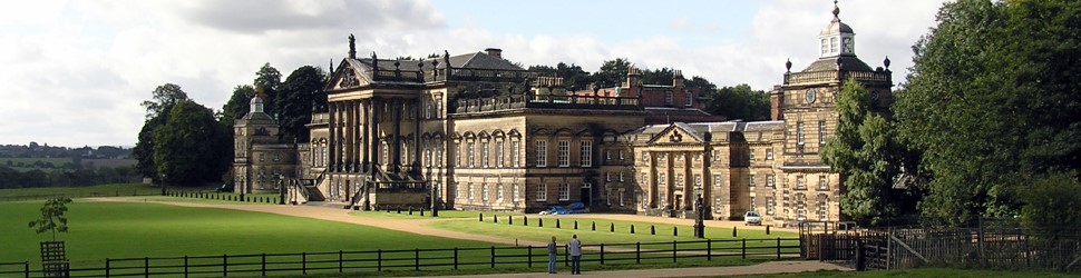 Front of Wentworth Woodhouse covered in sunshine.